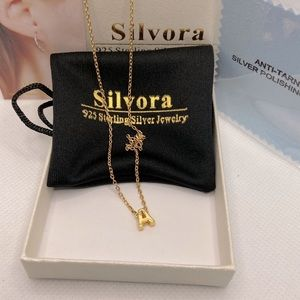 """Silvora Initial Letter Necklace S925/Gold """"A"""""""